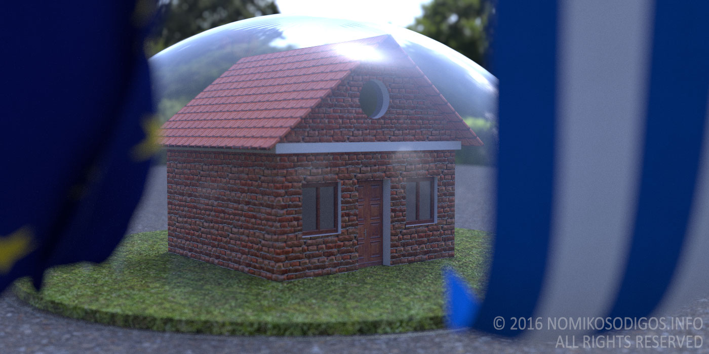 A greek house protected under a glass dome.